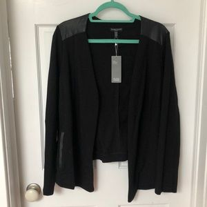 Black Blazer with real leather detailing
